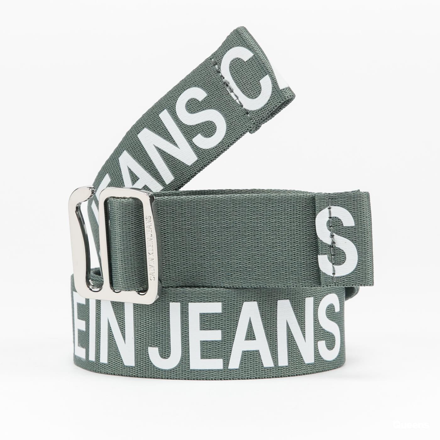 CALVIN KLEIN JEANS Slider Tape Belt 35mm zelený / bílý