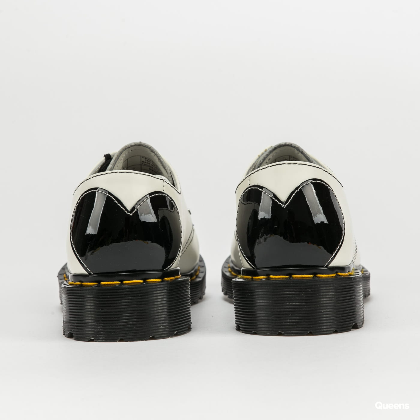 Dr. Martens 1461 Hearts white + black / smooth + patent lamper