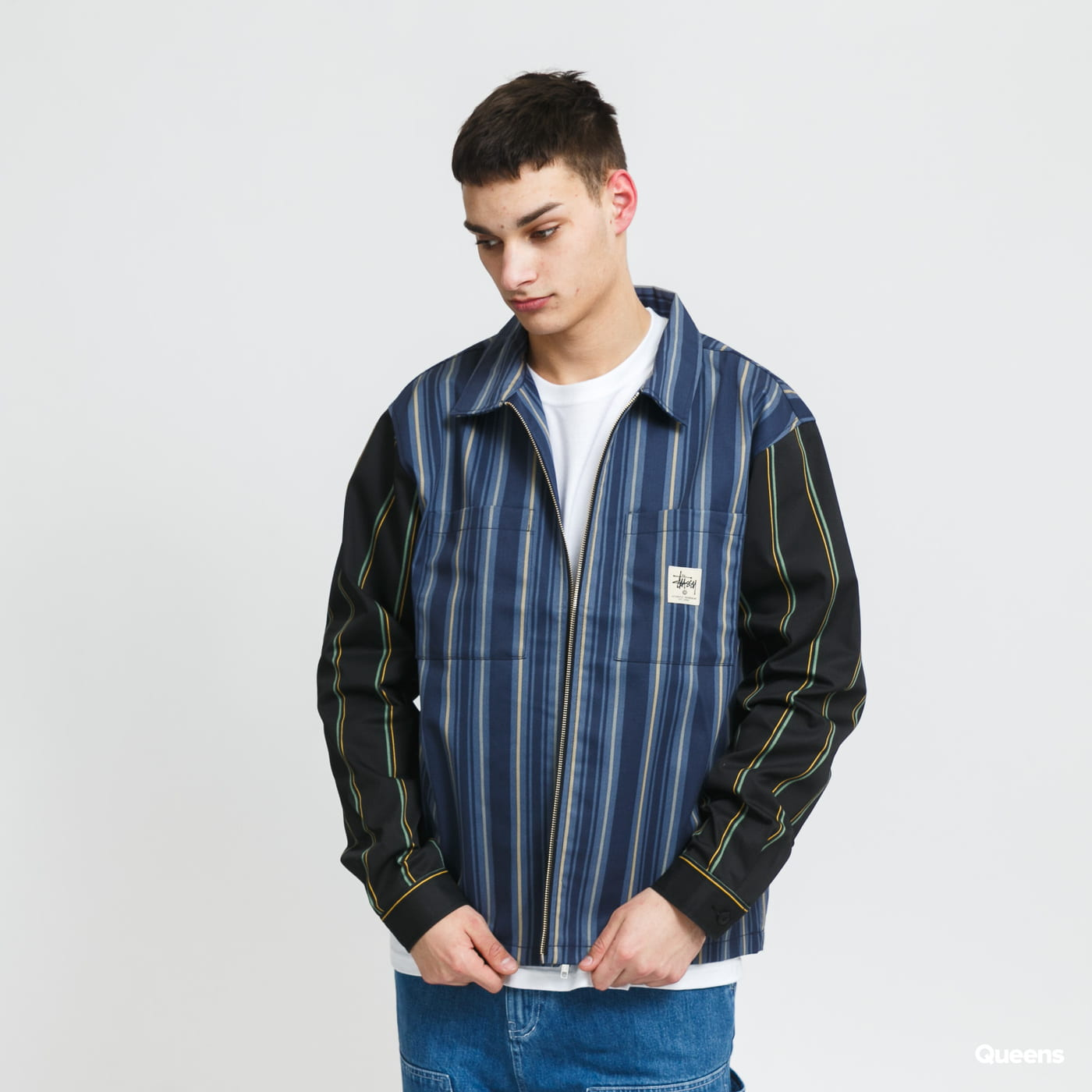 Stüssy Mix Stripe Zip Up Work LS Jacket navy / blue / black