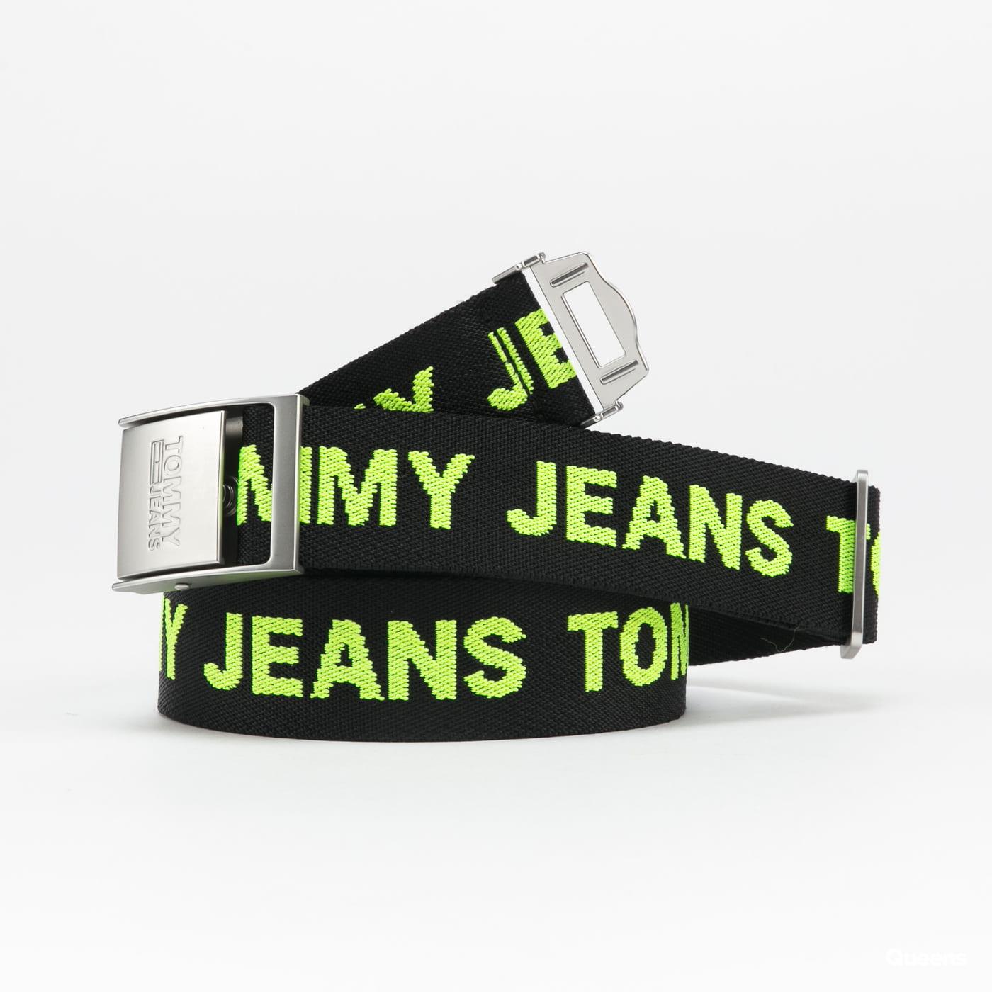 TOMMY JEANS M Fashion Webbing Belt černý / neon zelený
