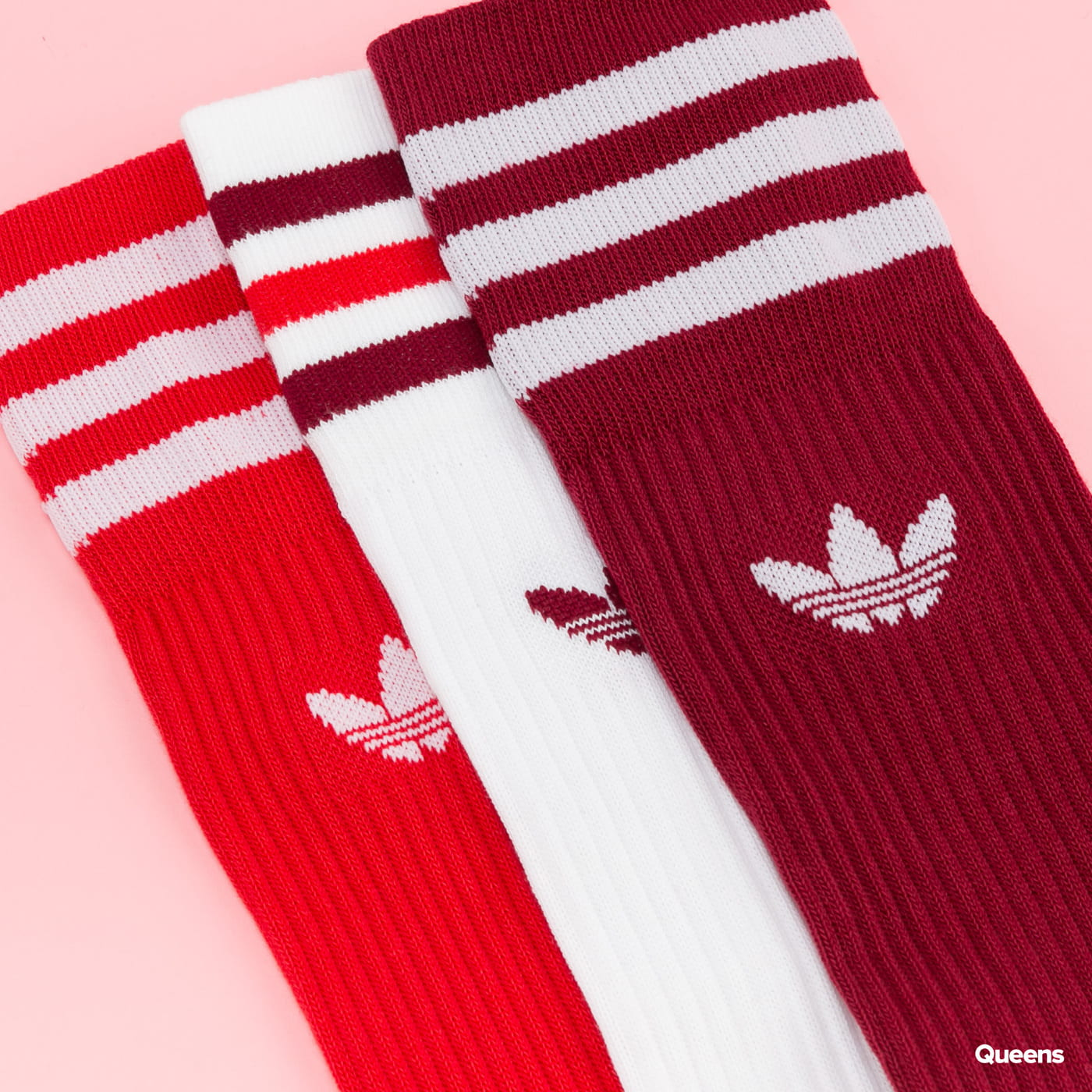 adidas Originals Solid Crew Socks 3 Pack white / red / burgundy