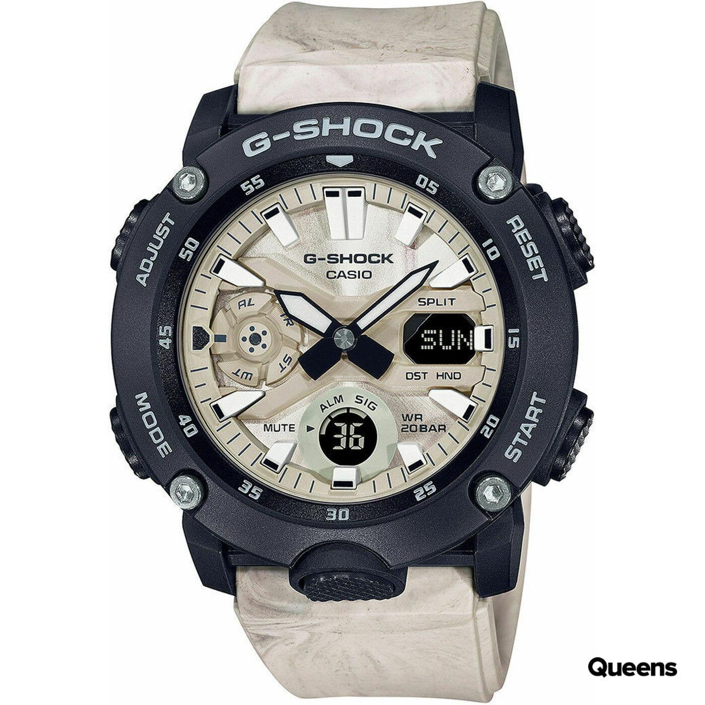 """Casio G-Shock GA 2000WM-1AER """"Carbon Core Guard Marble Series"""" krémové / černé"""