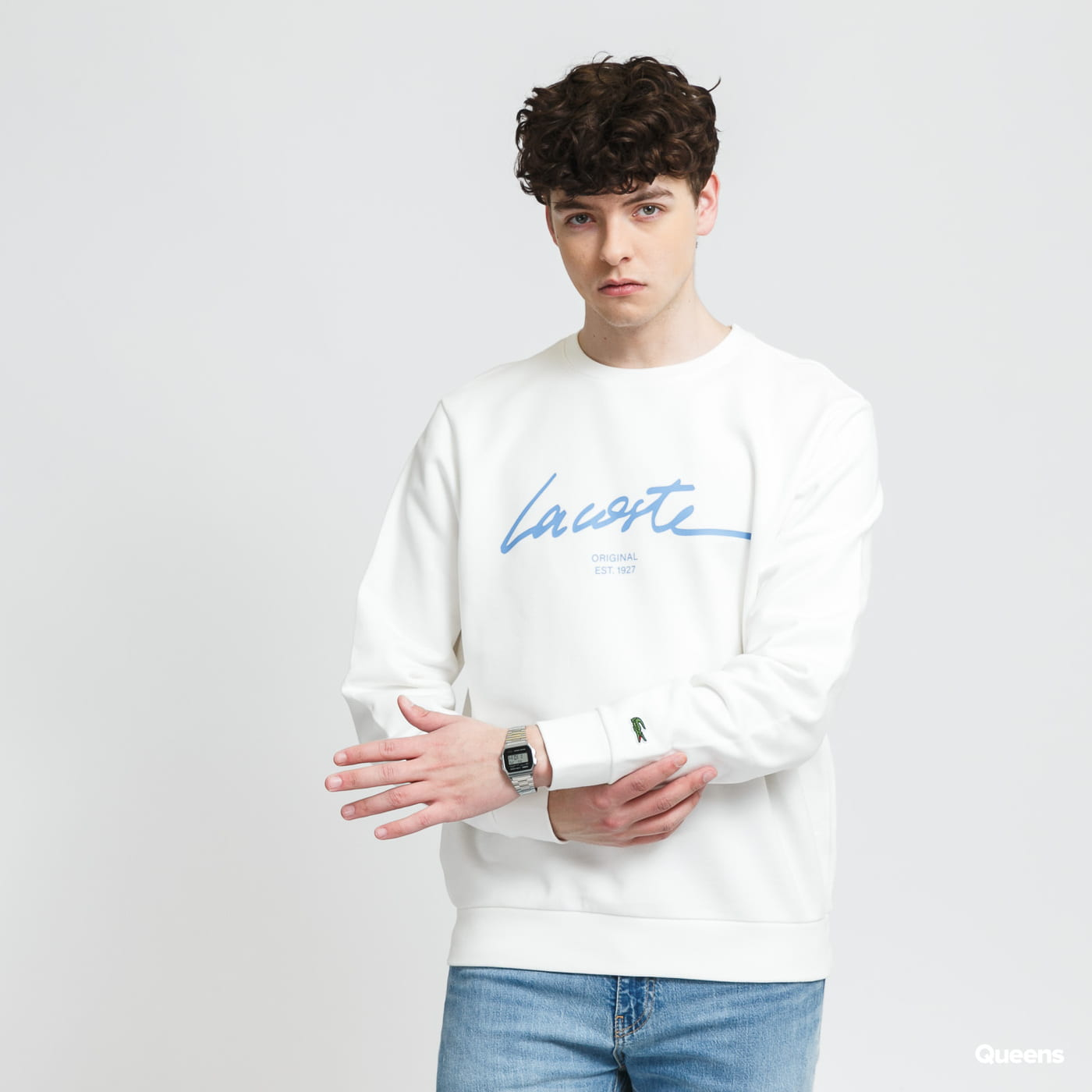 LACOSTE Crew Neck Lettered Cotton Fleece Sweatshirt cream