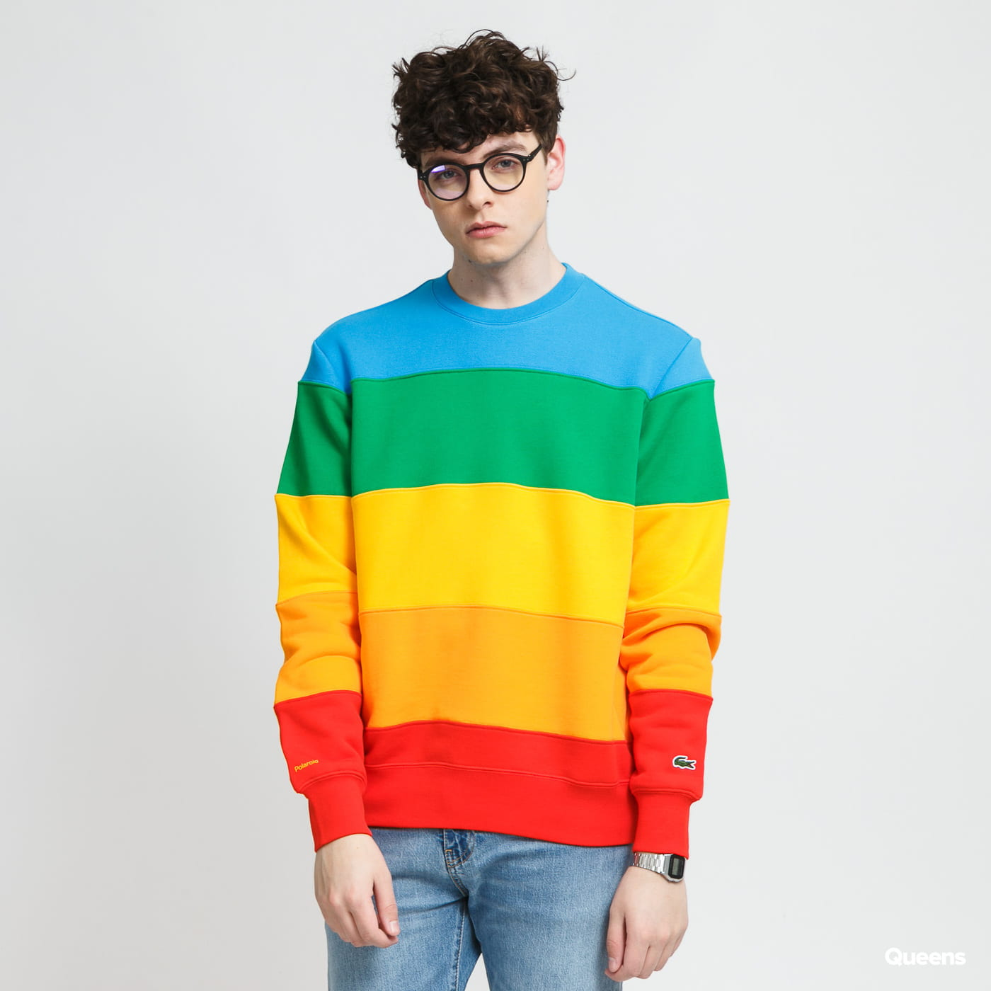 LACOSTE Men's Lacoste x Polaroid Colour Striped Fleece Sweatshirt multicolor