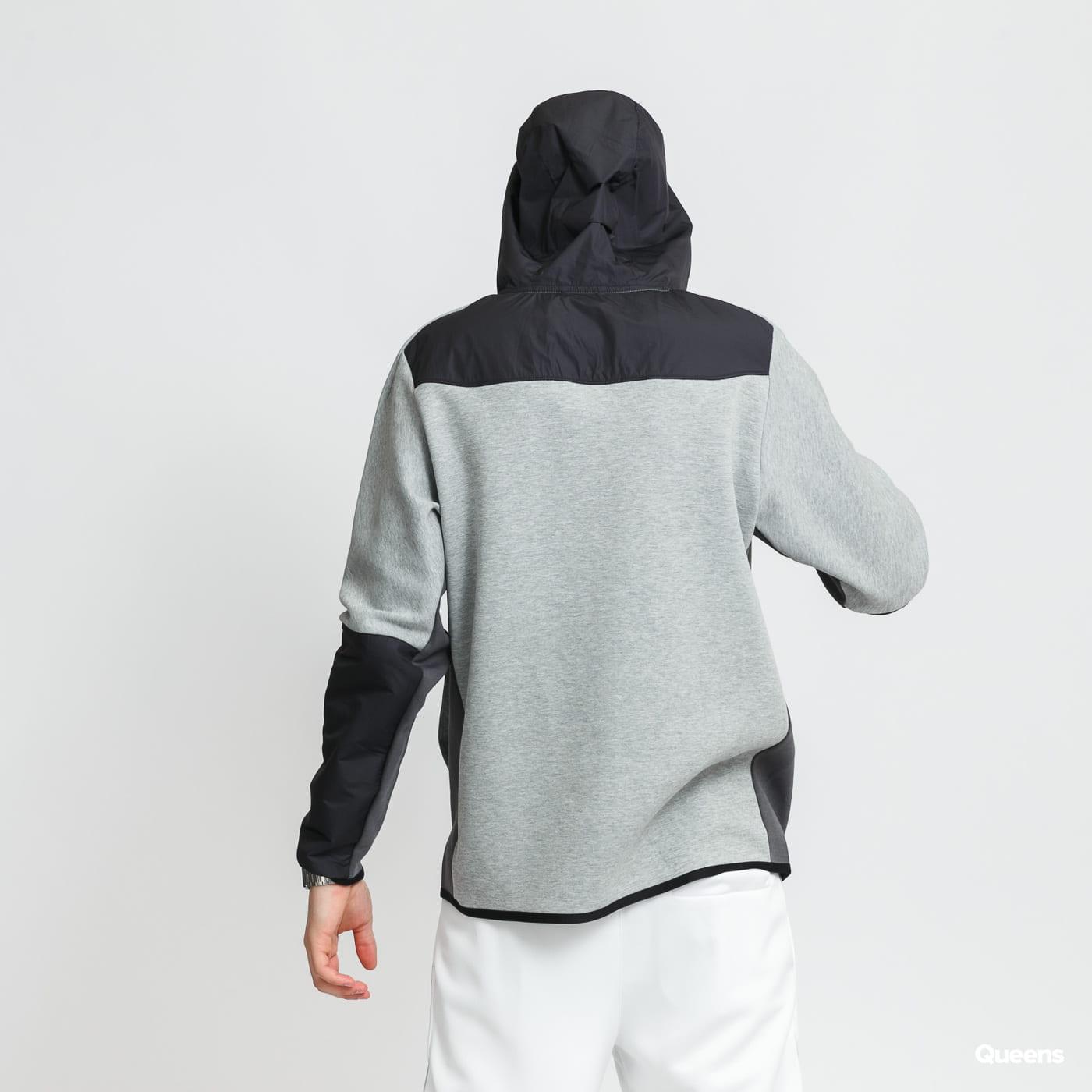 Nike M NSW Tech Fleece FZ Woven Hoodie Mix melange šedá / černá