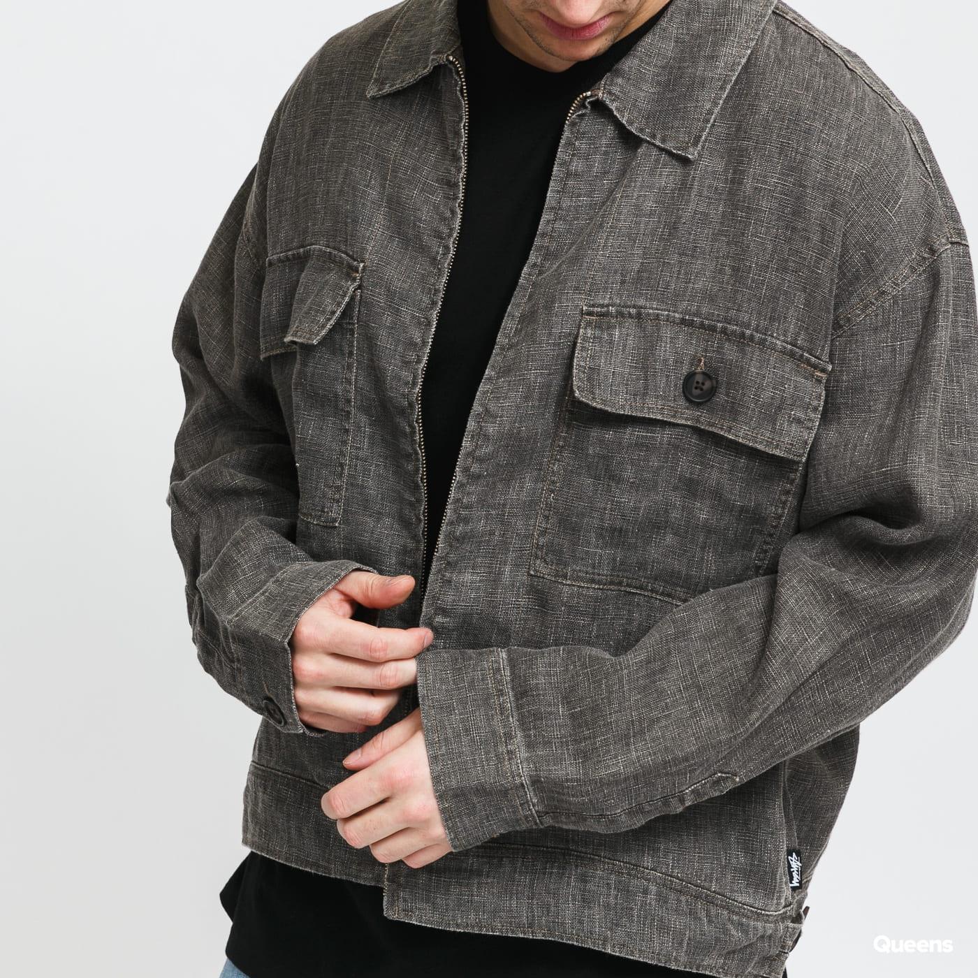 Stüssy Boxy Linene Zip Jacket dark gray