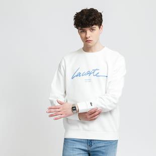 LACOSTE Crew Neck Lettered Cotton Fleece Sweatshirt
