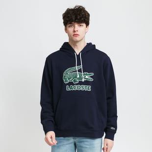 LACOSTE Men's Crackled Print Logo Fleece Hoodie