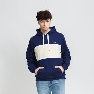 LACOSTE Men's Piqué Panel Bimaterial Hooded Sweatshirt