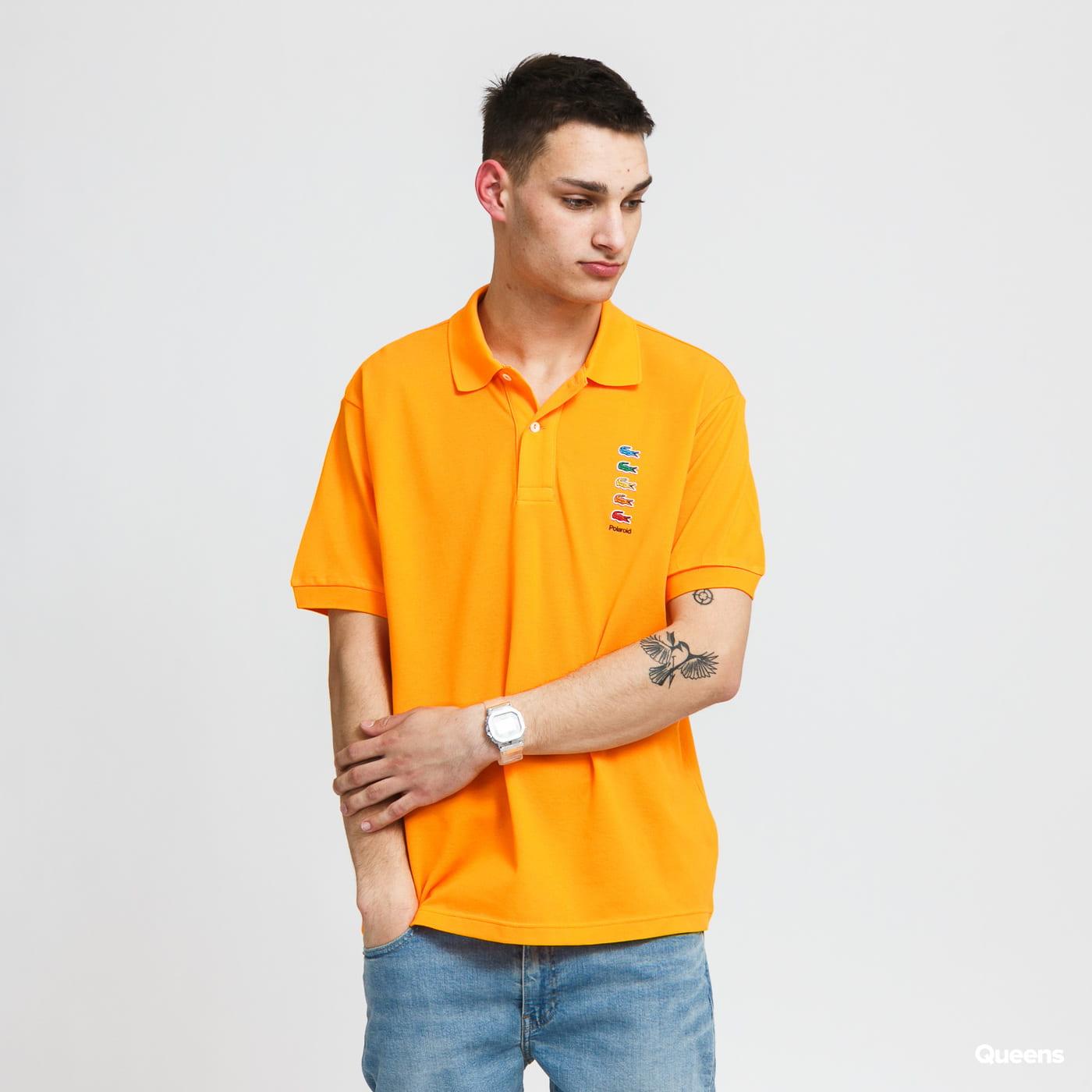 LACOSTE Men's Lacoste x Polaroid Coloured Crocodiles Classic Fit Polo Shirt orange