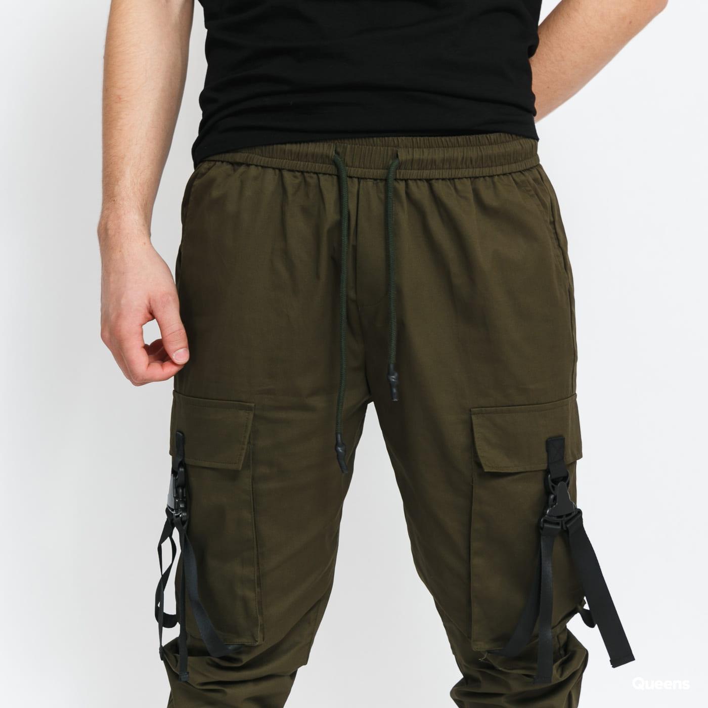 Sixth June Strap Cargo Pants tmavě olivové