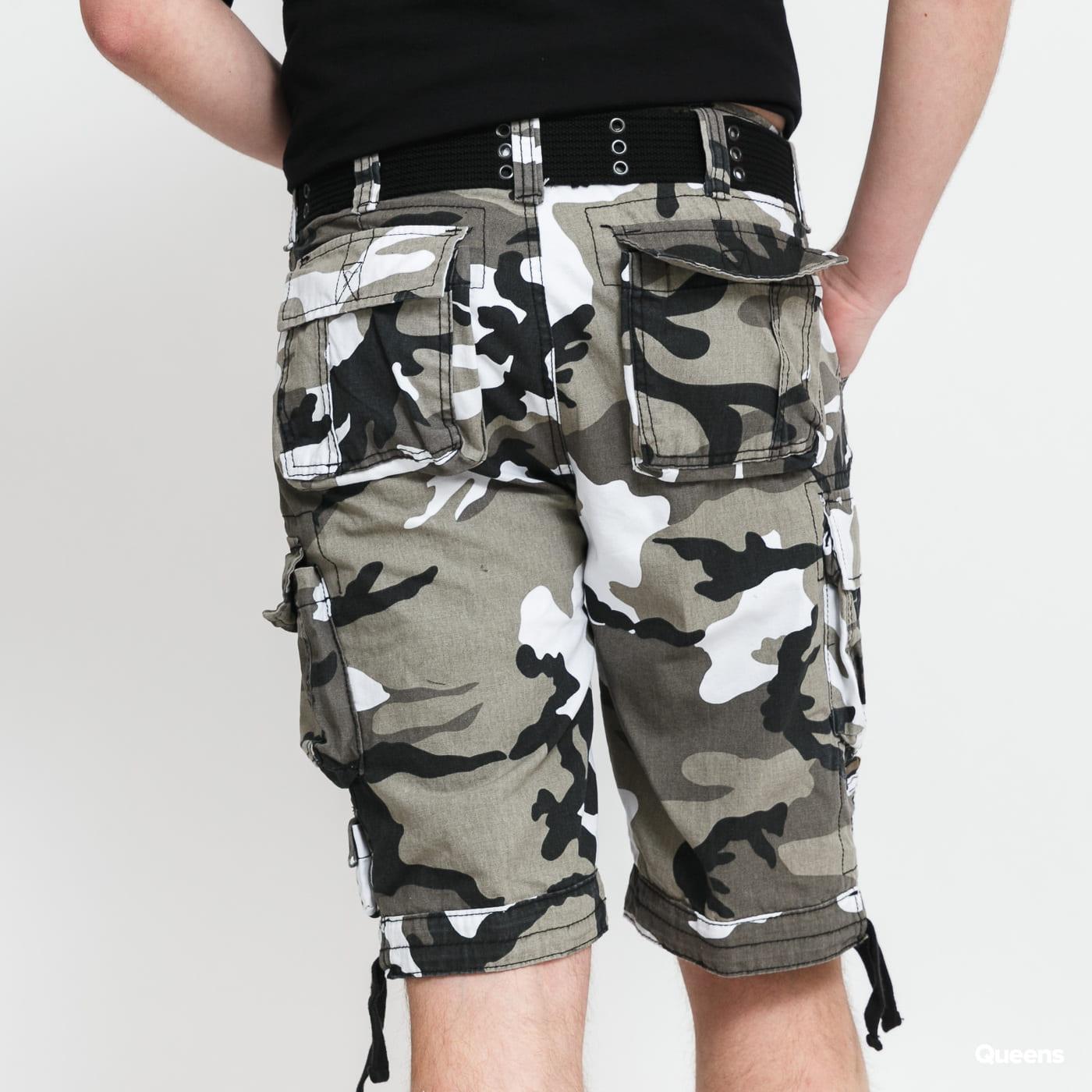 Urban Classics Savage Vintage Cargo Shorts camo gray / white / black