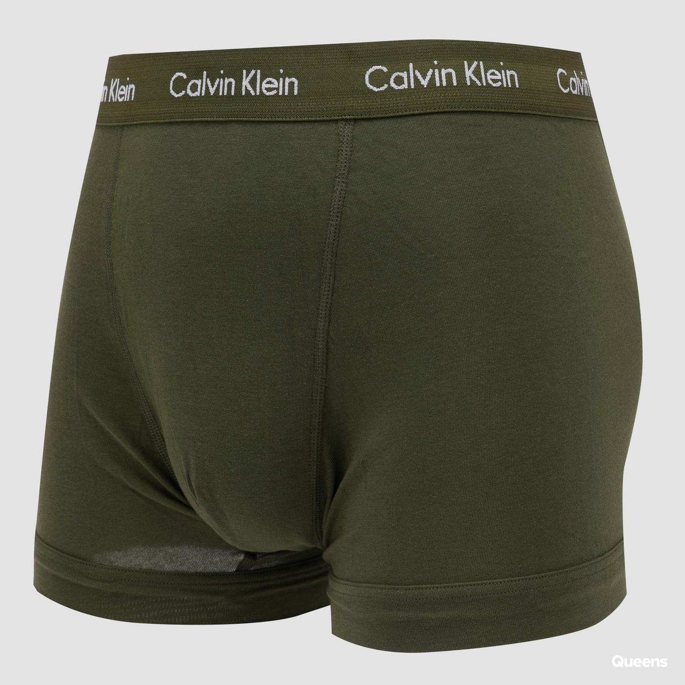 Calvin Klein 3Pack Trunks Cotton Stretch olive / light blue / black