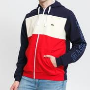 LACOSTE Men's Colourblock Fleece Zip Hoodie červená / krémová / navy