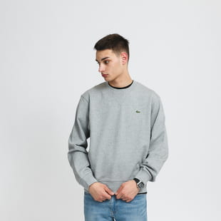 LACOSTE Crew Neck Organic Cotton Fleece Sweatshirt