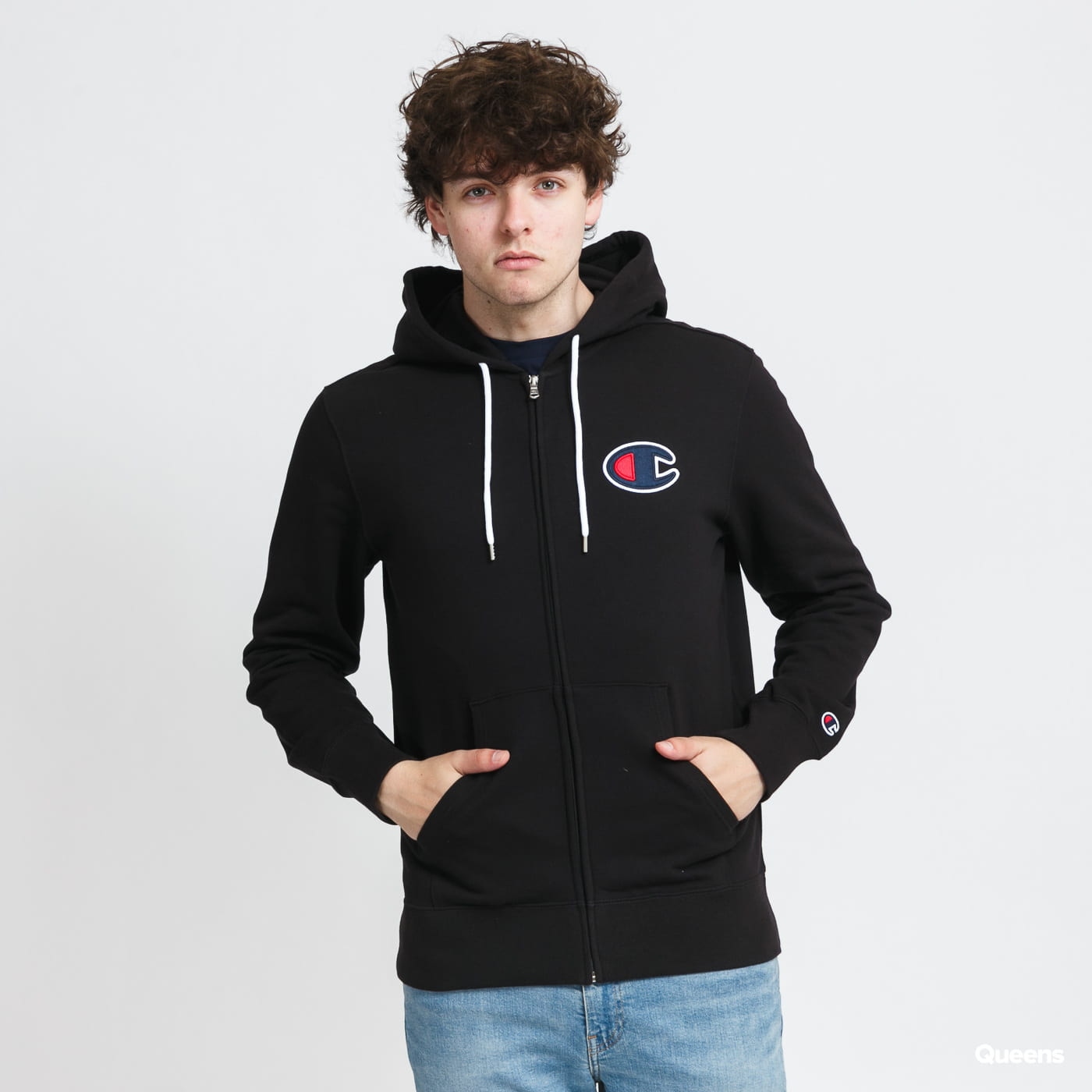 Champion Satin C Logo Hooded Full Zip Sweatshirt gray / beige / pink / black
