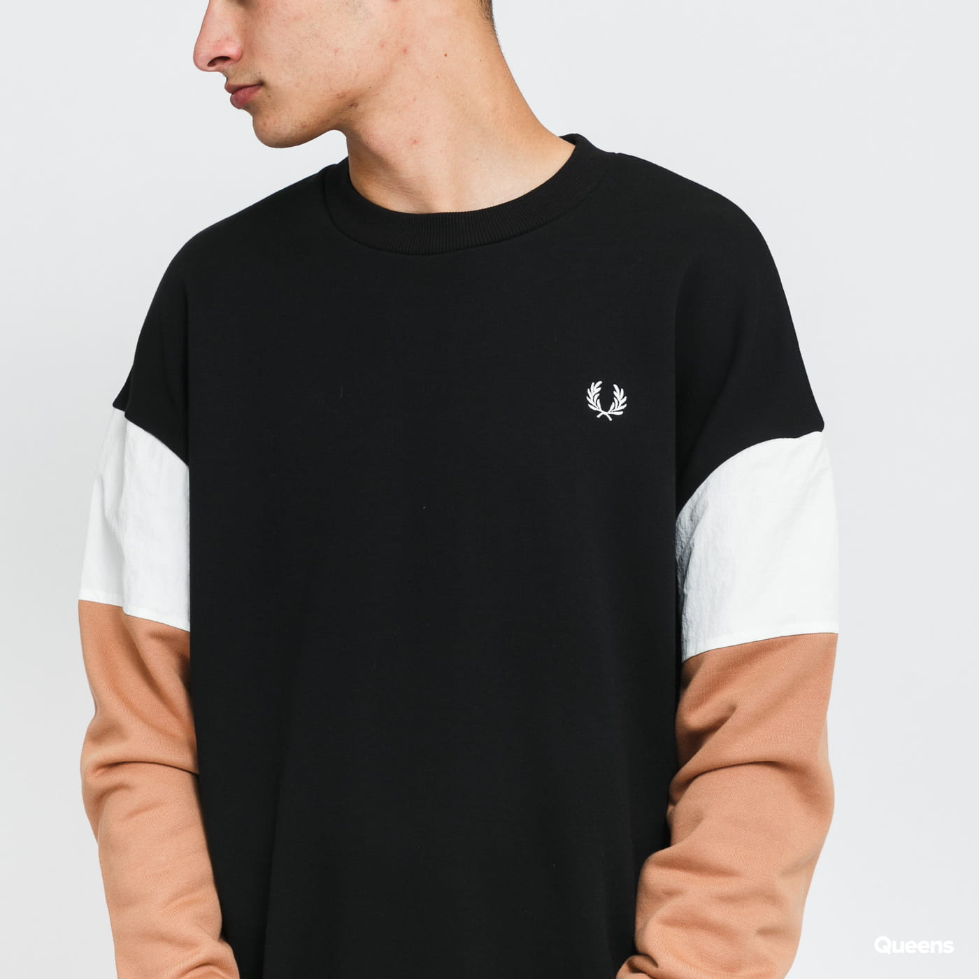 FRED PERRY Woven Colour Block Sweatshirt black / light brown / white