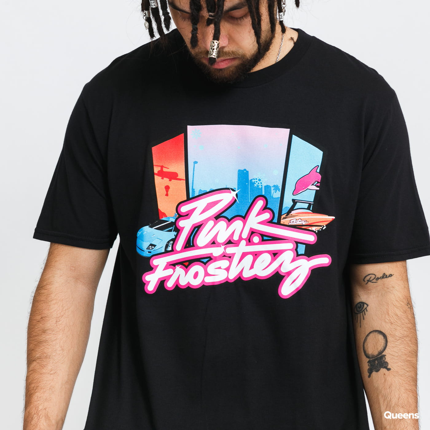 Pink Dolphin Pink + Frostiez Vice Tee black stone washed no length