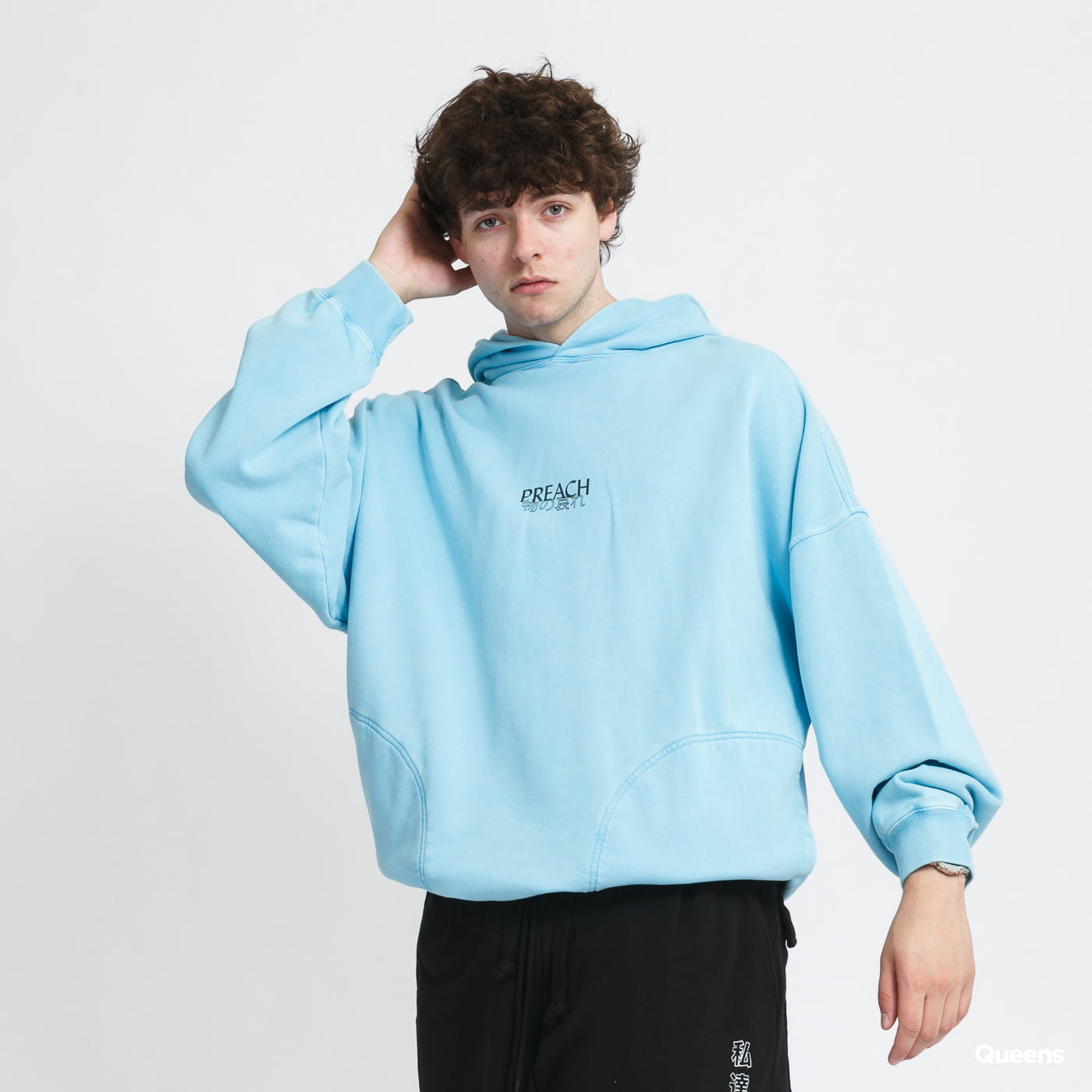 PREACH Oversized Sidepocket Character Hoodie blue