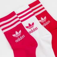 adidas Originals 3Pack Mid Cut Crew Socks růžové / červené / bílé