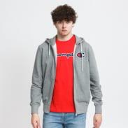 Champion Satin C Logo Hooded Full Zip Sweatshirt melange šedá