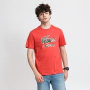 LACOSTE Big Crocodile Logo Tee světle červené