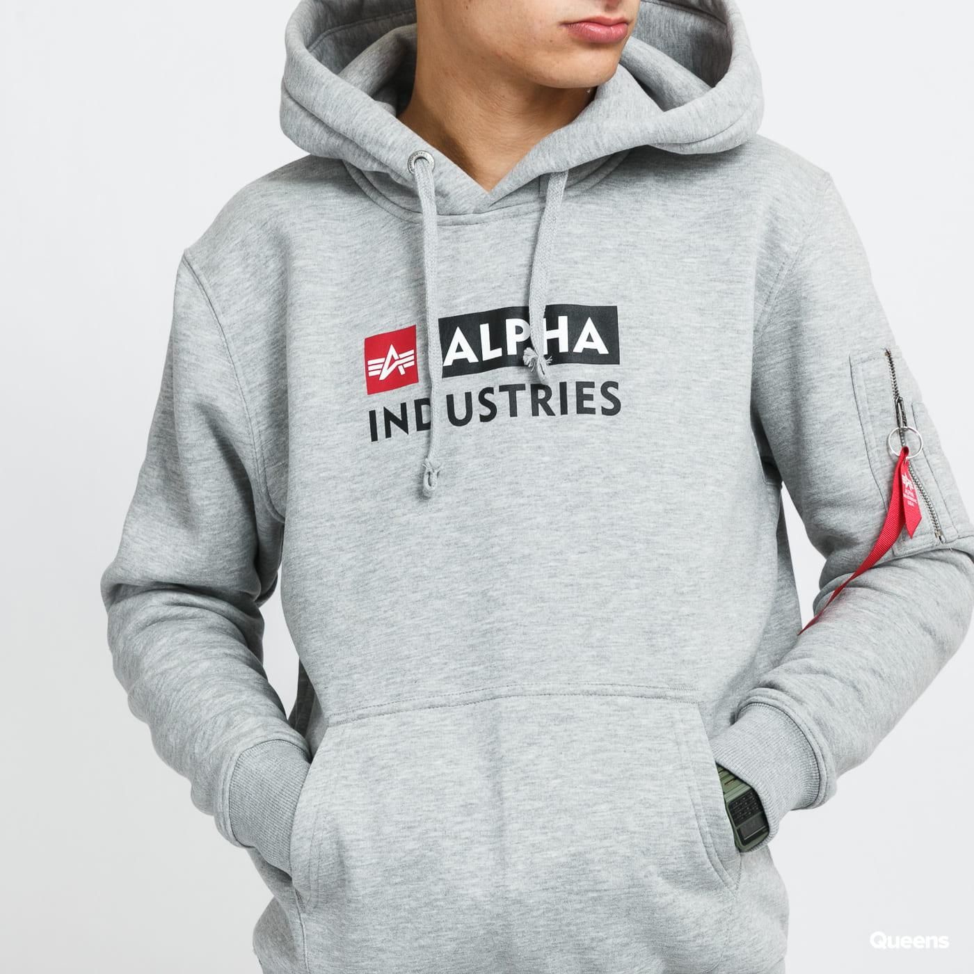 Alpha Industries Alpha Block-Logo Hoody melange gray