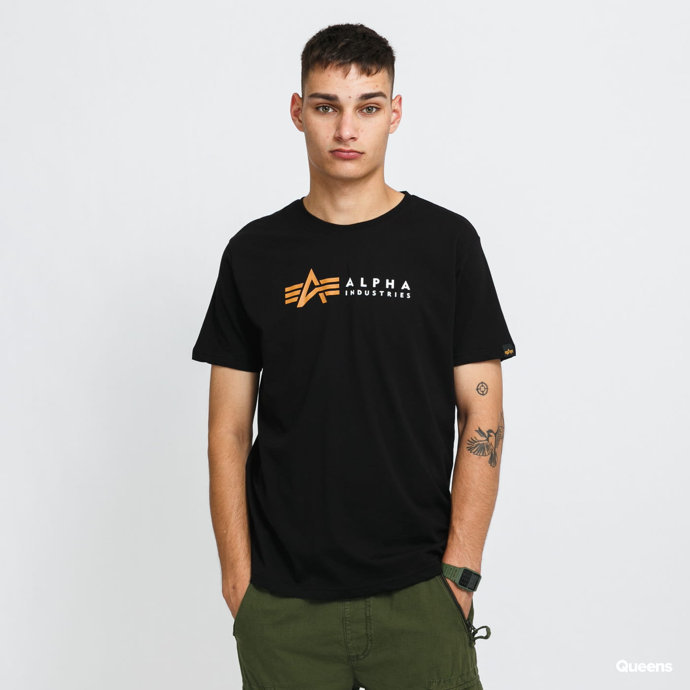 Alpha Industries Alpha Label Tee black stone washed no length
