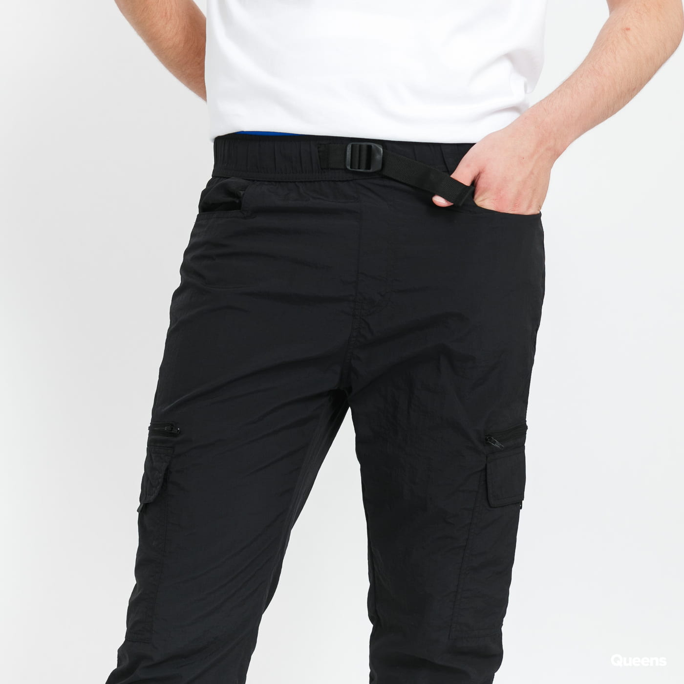 Urban Classics Adjustable Nylon Cargo Pants black stone washed no length
