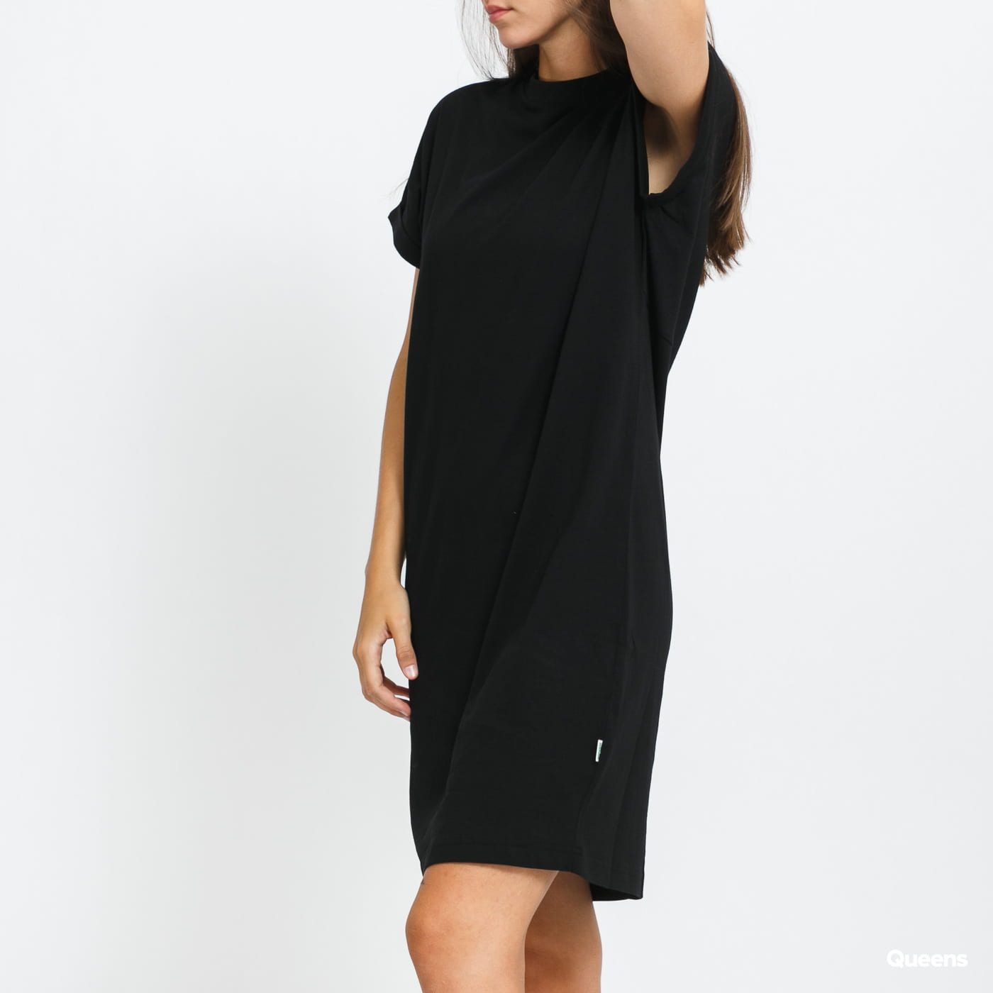 Urban Classics Ladies Organic Cotton Cut On Sleeve Tee Dress černé