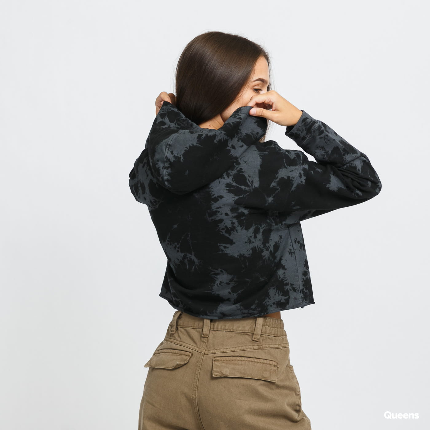 Urban Classics Ladies Oversized Short Bleached Hoody černé / tmavě šedé