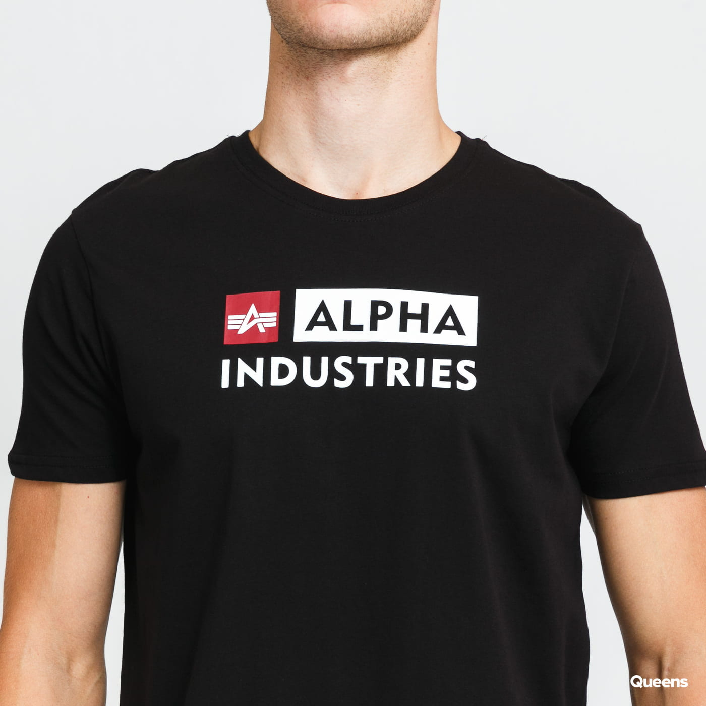 Alpha Industries Alpha Block Logo Tee black stone washed no length