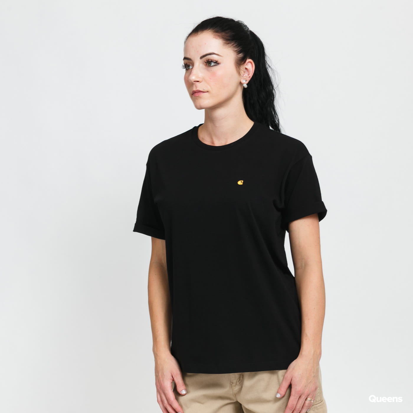 Carhartt WIP W' SS Chase Tee black stone washed no length