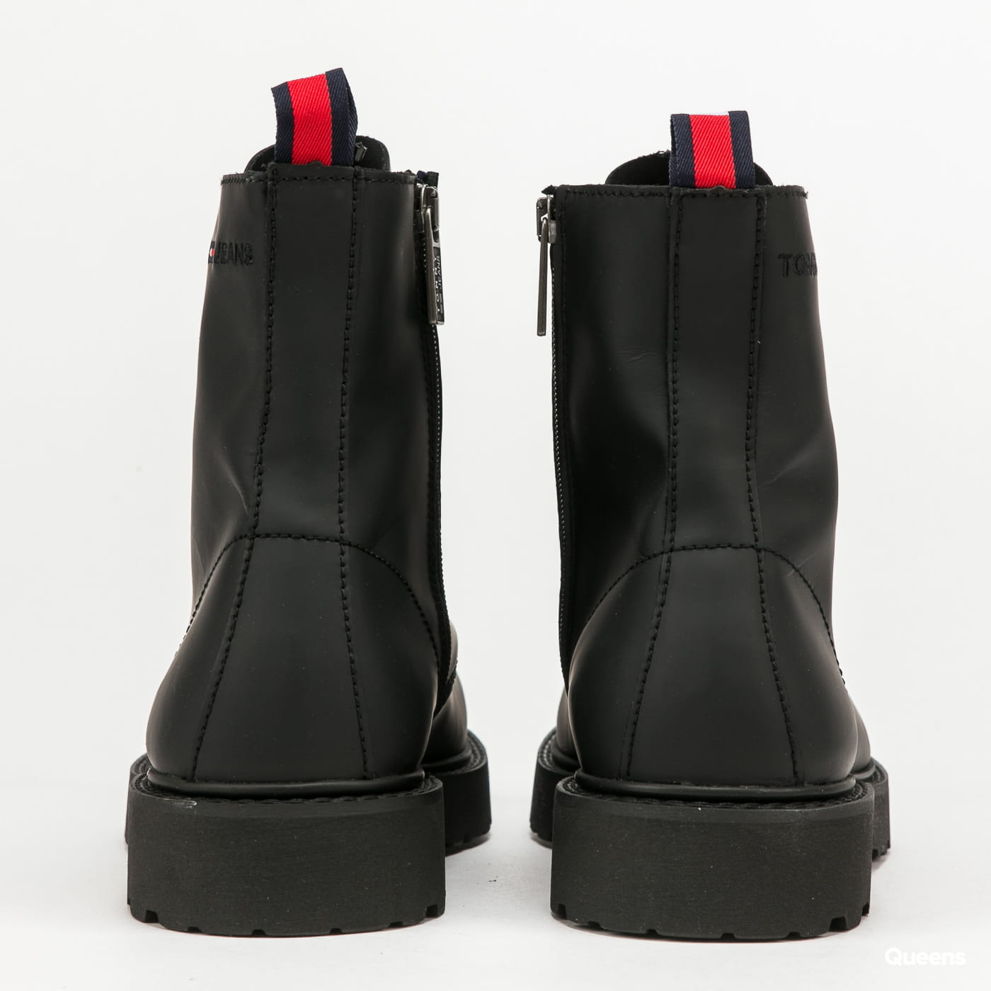 TOMMY JEANS Leather Lace Up Boot black