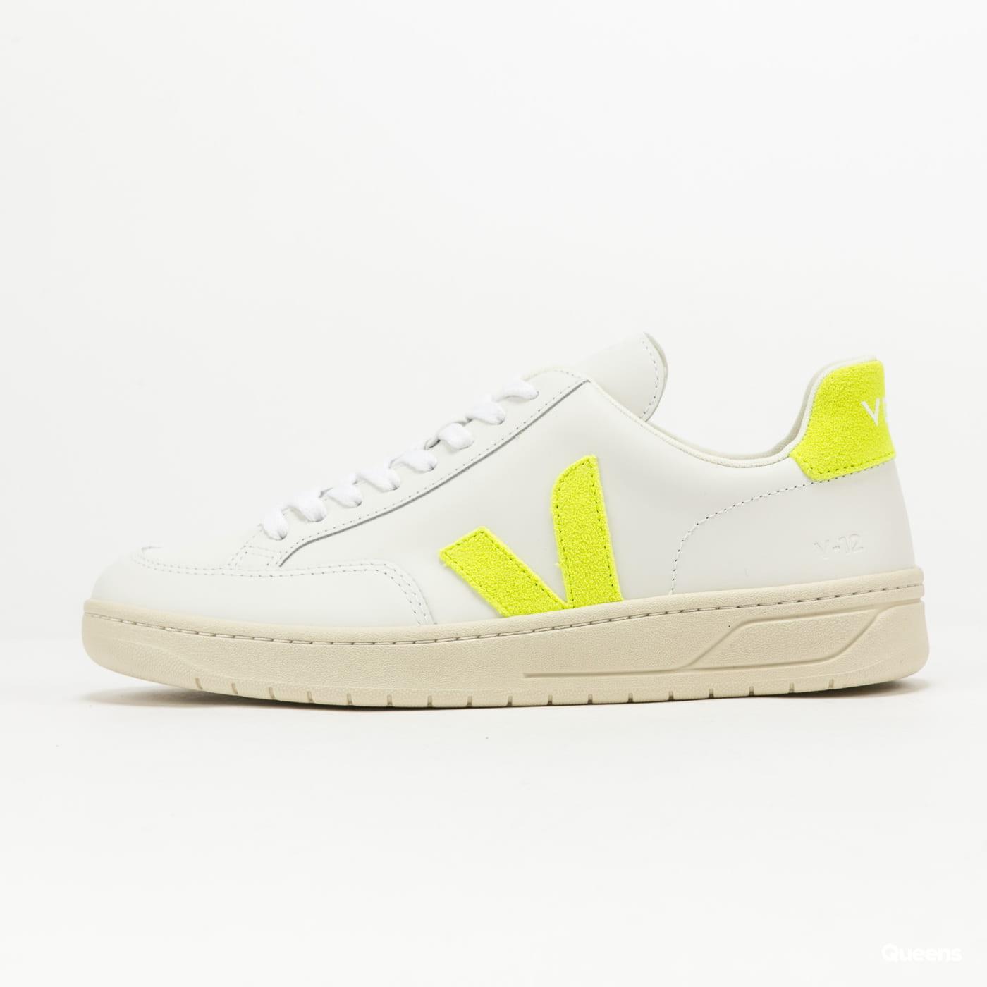 VEJA V-12 Leather extra-white_jaune-fluo