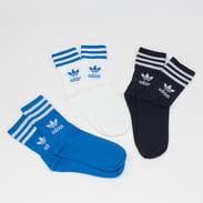 adidas Originals Mid Cut Crew Sock 3Pack bílé / modré / černé
