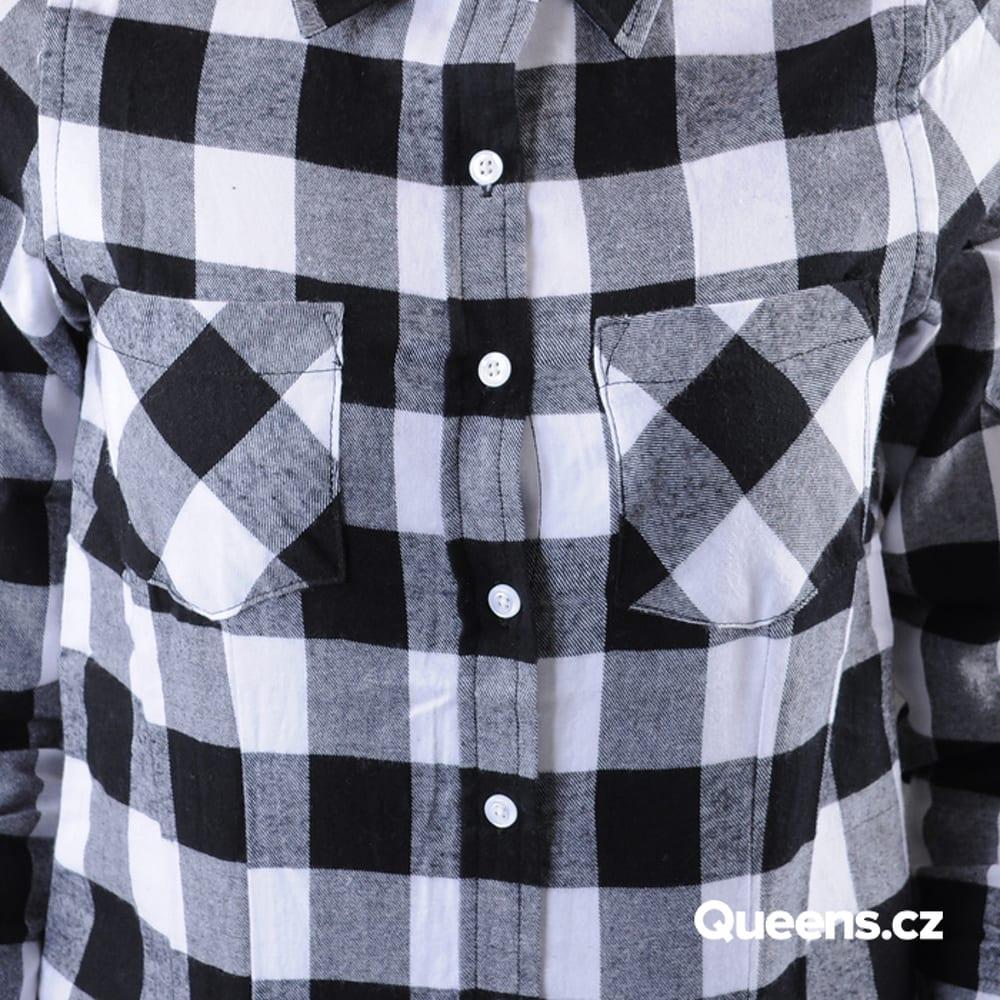 Urban Classics Ladies Checked Flanell Shirt schwarz / weiß