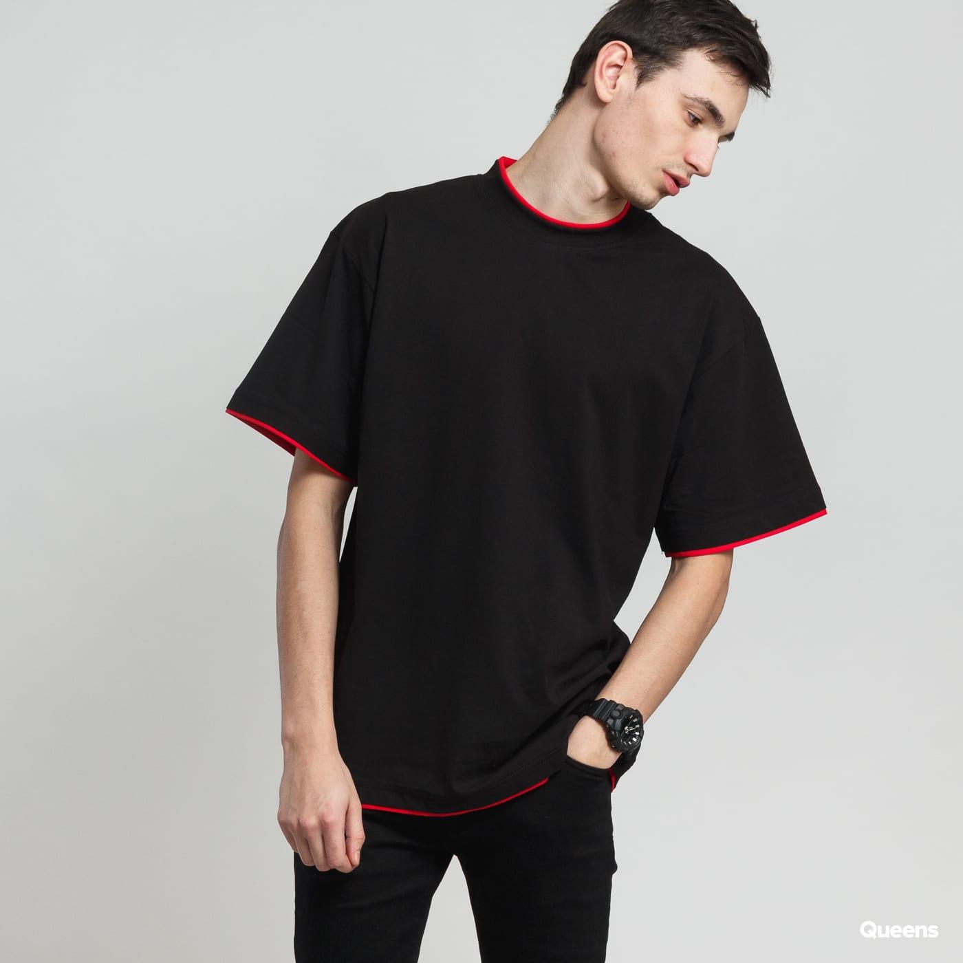 Urban Classics Contrast Tall Tee čierne / červené