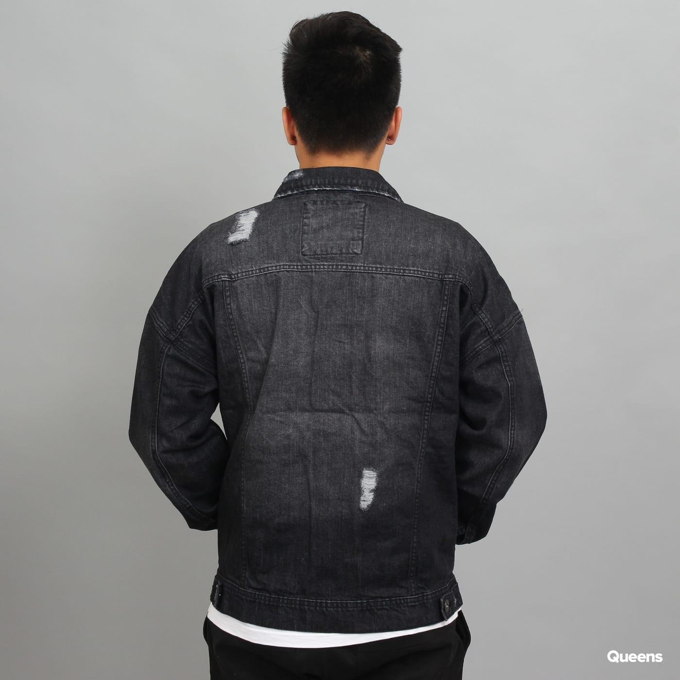 Urban Classics Ripped Denim Jacket schwarz
