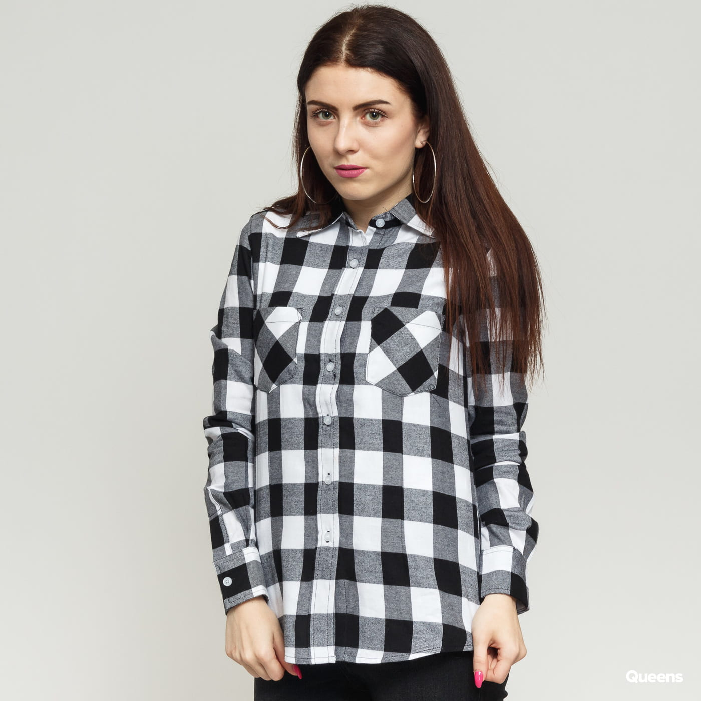 Urban Classics Ladies Checked Flanell Shirt black / white