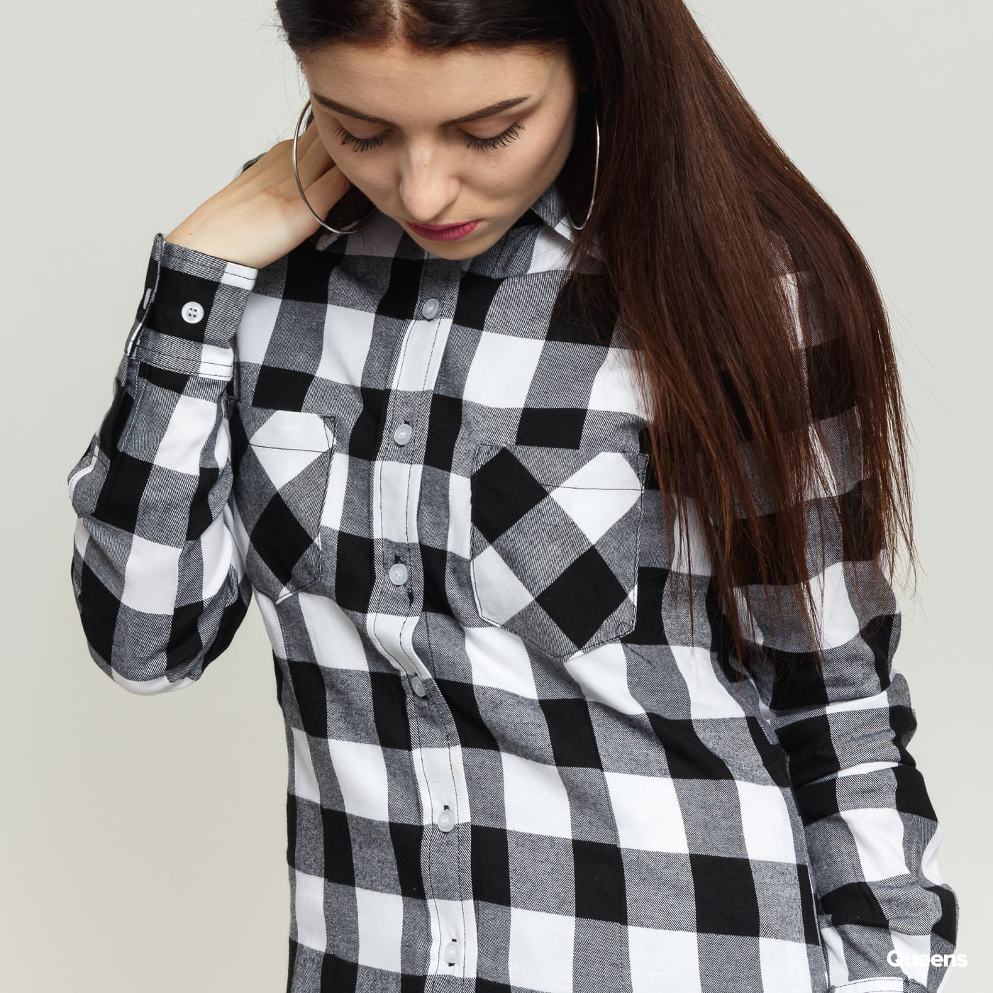 Urban Classics Ladies Checked Flanell Shirt schwarz / weiß