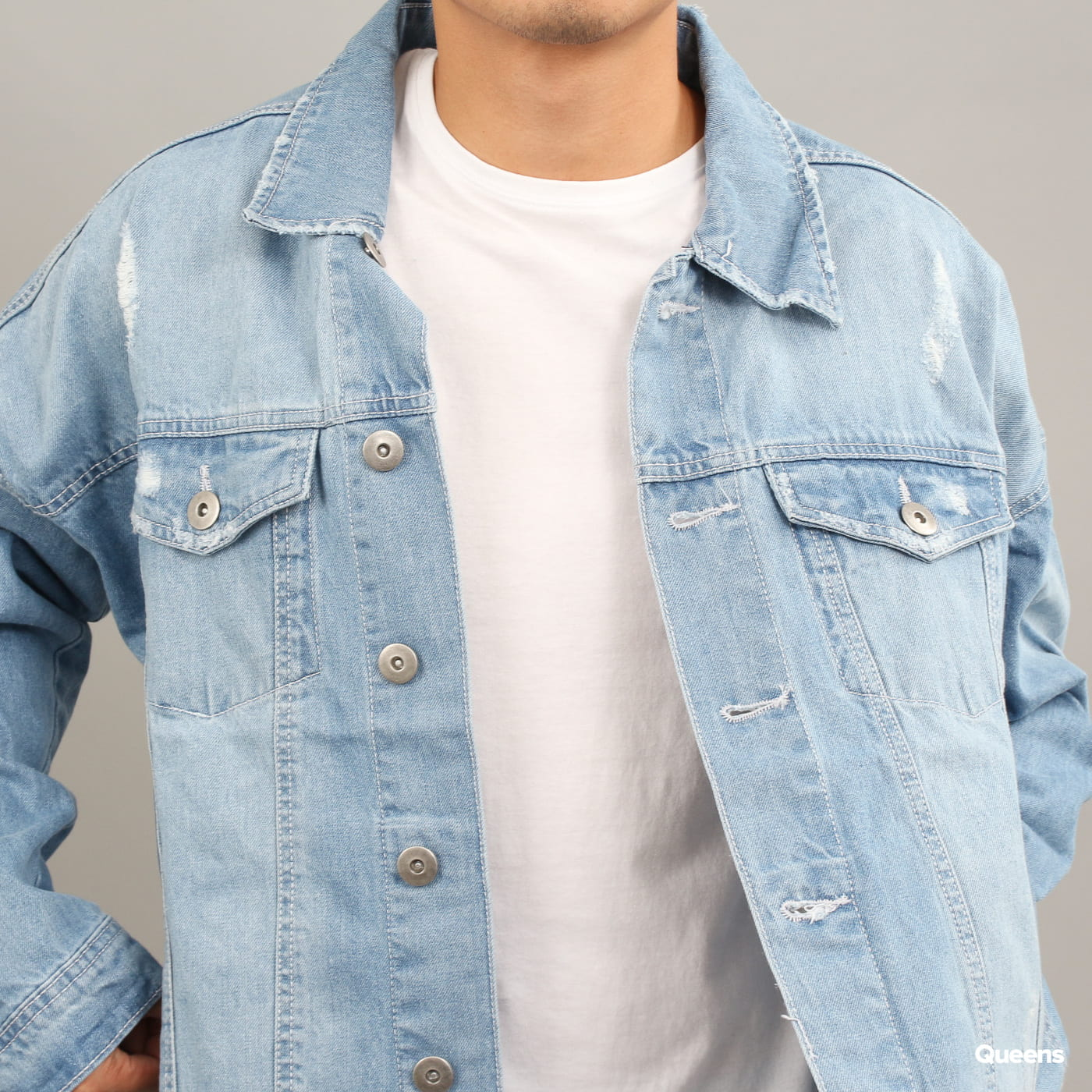 Urban Classics Ripped Denim Jacket bleached