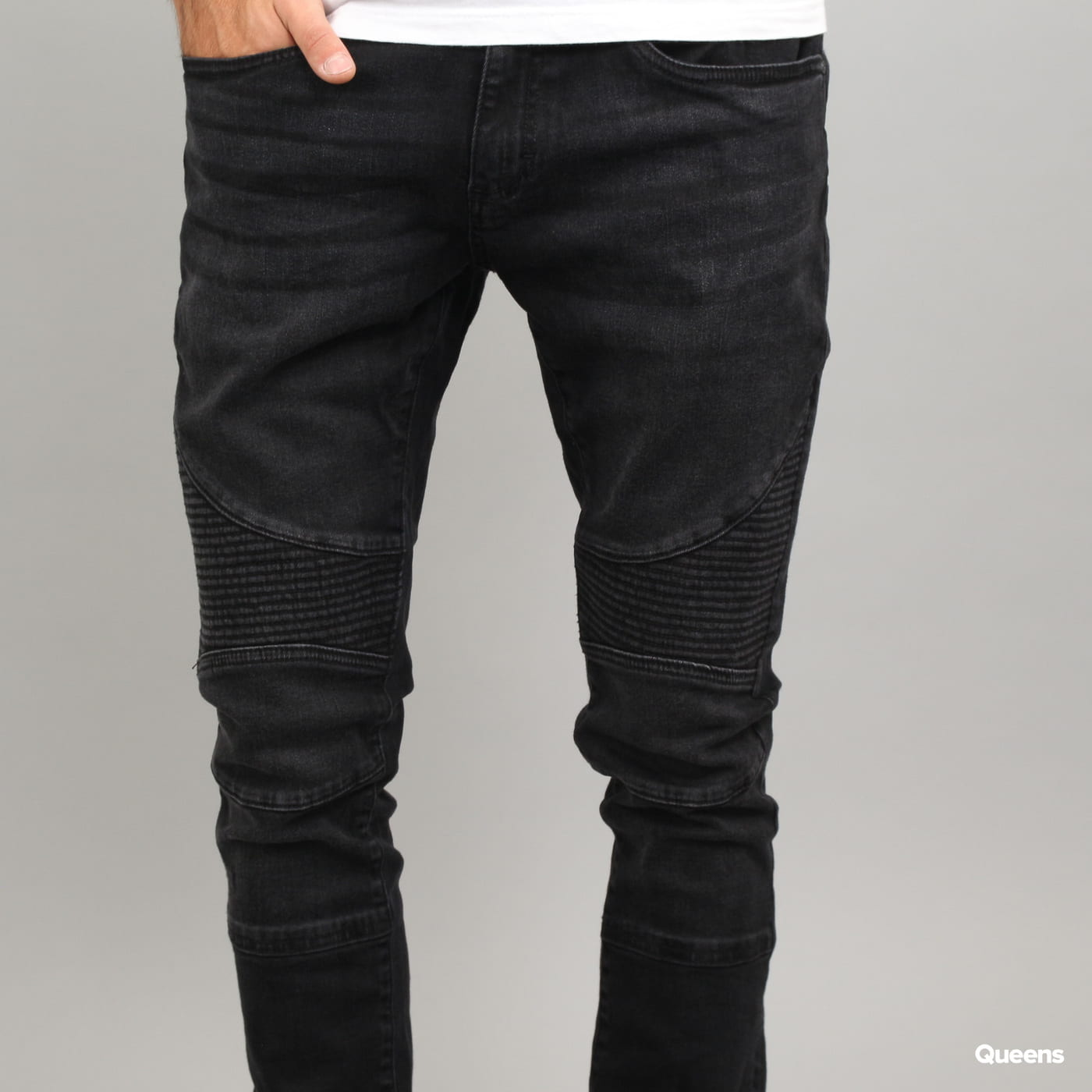 Urban Classics Slim Fit Biker Jeans black washed