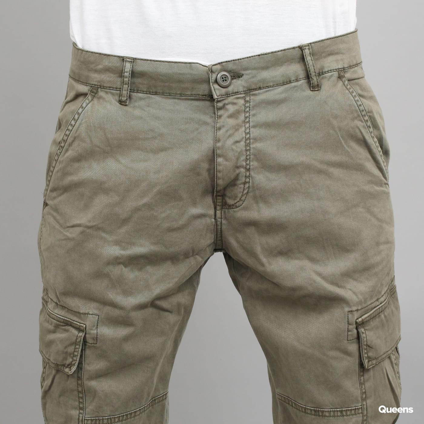 Urban Classics Washed Cargo Twill Jogging Pants olivové
