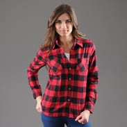 Urban Classics Ladies Checked Flanell Shirt černá / červená