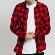 Urban Classics Checked Flanell Shirt Schwarz / rot