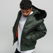 Urban Classics Hooded Basic Bomber Jacket olivová