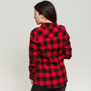 Urban Classics Ladies Checked Flanell Shirt Schwarz / rot