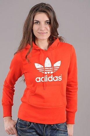 Dámská mikina adidas Trefoil Hoodie červená   bílá – Queens 💚 b6e1d7a927c